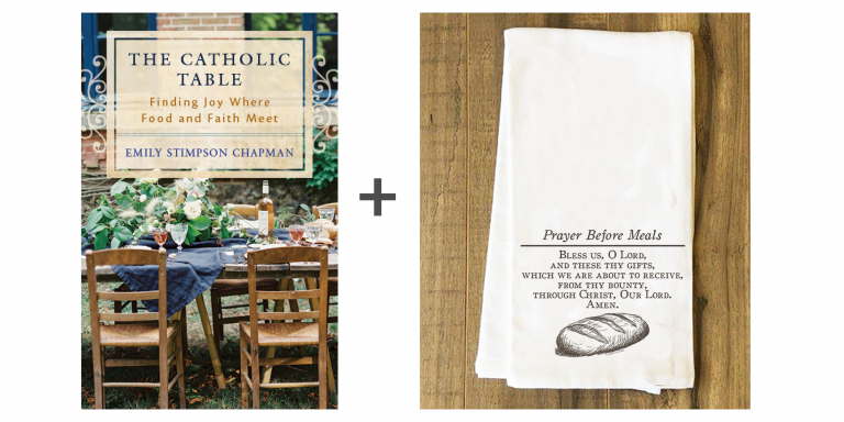 The Catholic Table with Prayer before Meals Tea Towel