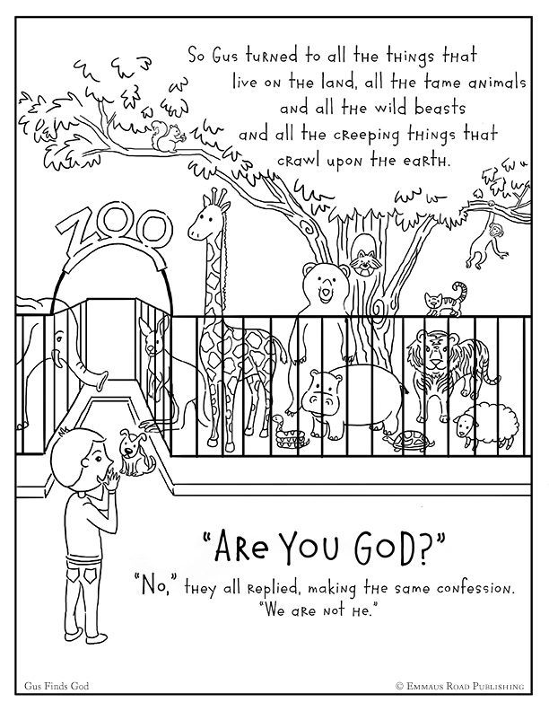 Gus Finds God Coloring Page